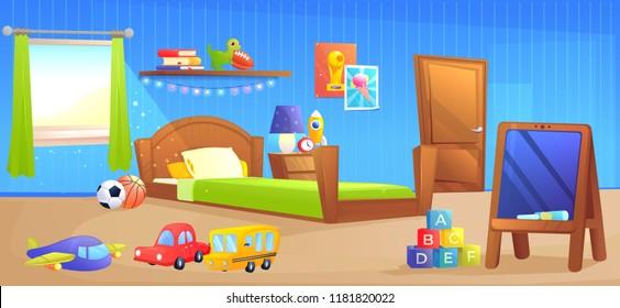 Kid boy room interior design banner. With bed, school board, book and toys. Vector cartoon illustration