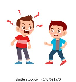 kid bully friend bad behavior vector