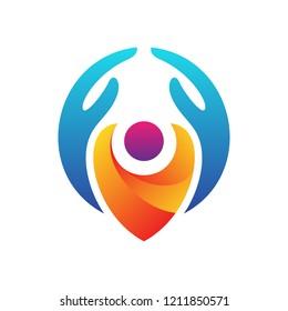 kid care, hand with children logo design inspiration