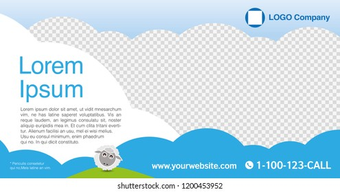 Kid cartoon graphic design layout template for advertising, creative & business concept, modern Nature background Cute element Sheep hill sky. Blue & White with Transparency theme, Vector illustration