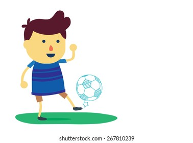 Kid cartoon in sportswear juggling with a soccer ball isolated on white background