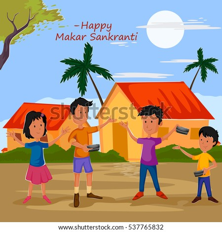 Kid Celebrating Indian Festival Makar Sankranti Stock Vektorgrafik