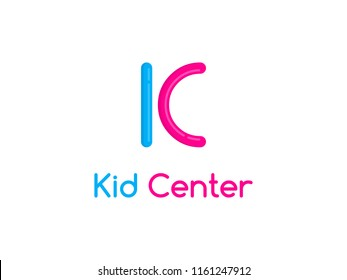 Kid Center logo concept. Letters K and C made from balloons for twisting. Creative child studio sign. Graphic alphabet symbol for corporate identity. Vector element