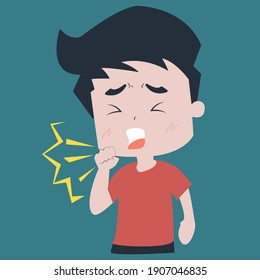 Kid Character Coughing. Vector illustrator Healt Care and injury concept.