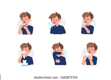 Kid Character Sneezing and Coughing Right and Wrong. Medical Recommendation How to Sneeze Properly. Prevention against Virus and Infection. Hygiene Concept.  Flat Cartoon Vector Illustration.