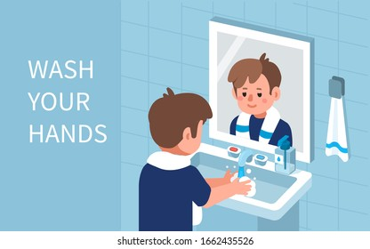 Kid Character Standing near Mirror in Bathroom and Washing Hands with Soap under running Water. Prevention against Virus and Infection. Hygiene Concept.  Flat Cartoon Vector Illustration.
