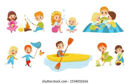 Kid Characters Resting. Having Picnic Small Children Vector Illustrations