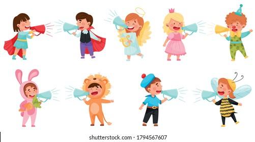 Kid Characters Wearing Fancy Dress or Costume Talking Megaphone or Loudspeaker Vector Illustration Set