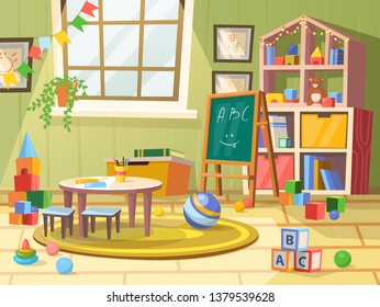 Kid or children, boy room for education. Child toys, flags, balls and books, chalkboard and cubes with alphabet, table with pencil and chair. Loft or attic, garret playroom in kindergarten. Childhood