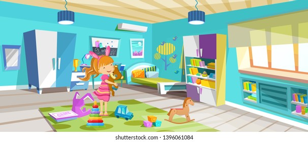 Kid children is played in room, in toys. Cozy room, children's bedroom with furniture, toys, accessories. Children's play room interior of room with large bright windows, bookcase area vector.