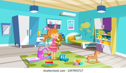 Kid children is played in room, in toys. Cozy room, children's bedroom with furniture, toys, accessories. Children's play room interior of room with bed, bookcase, light, window, teaching area vector.