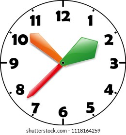 Kid clocks with multicolored arrows