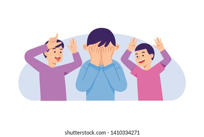 A kid crying because two kids bullying him, kid getting bullied, bullying concept vector illustration