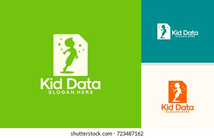 Kid Data logo template, Children Document Logo designs vector
