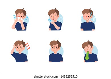 Kid with different diseases symptoms - fever, cough, snot, allergy. Set of  icons about child illness signs. Flat cartoon vector illustration isolated on white background.