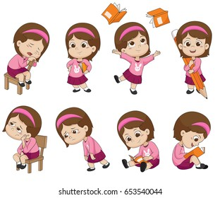 Kid in different poses about learning, back to school. Vector and illustrator