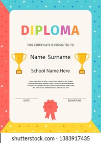 Kid diploma. Certificate blank. Vector. Winner background. Preschool, kindergarten, school template graduation backdrop with trophy cup,  award ribbon and stamp. Layout design. Cartoon illustration.