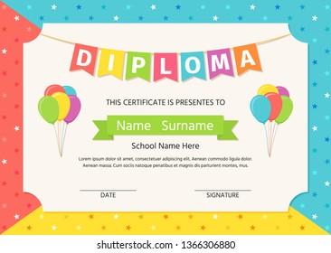 Kid diploma, certificate. Vector. Cute preschool, kindergarten, school graduate template. Graduation background. Layout design. Cartoon playful illustration. Winner blank with balloons, stars.