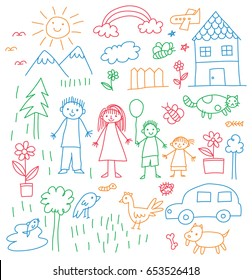 Kid drawing with family, car, animal, house and other object