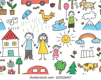 Kid drawing with family, car, animal in seamless background