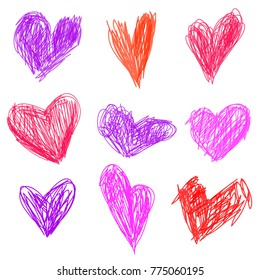 Kid drawing. Set with pink, red heart. Vector illustration