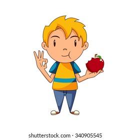 Boy Eating Apple Images Stock Photos Vectors Shutterstock