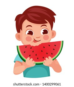 kid eats a red watermelon with a good appetite.