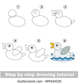 Kid education and gaming - the drawing tutorial for preschool children with easy educational kid game level, the funny drawing school. How to draw cute duck.