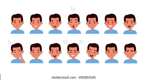 Kid face emotions set. Little cute boy different facial expressions, child portrait with smile and sadness, bored and surprised, various mood icons. Vector flat cartoon children character collection