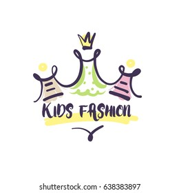 Kid fashion. Hand-drawn template vector logo for shop, store, market with children dress.