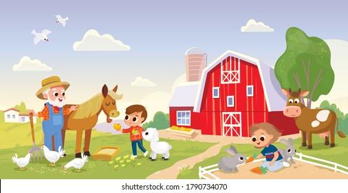 Kid feed the animals at the farm.Girl feeding rabbits. Boy feeding horse. Farmer with horse. Summer countryside background. Old MacDonald . Old farmer stay stay beside horse. Farm building.