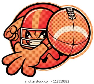 Kid Football Vector manga style illustration of a young boy quarterback throwing a football toward camera. Football is grouped separately from player (with it's own halftone pattern).