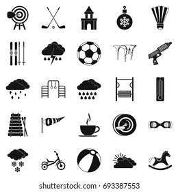 Kid game and sports  icons set. Simple set of 25 kid game vector icons for web isolated on white background