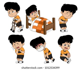 Kid get sick,He has high temparature,tootache,stomachache,knee injury,leg injury.Vector and illustration.