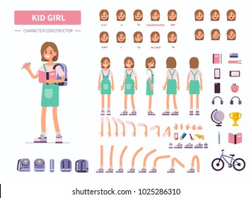 Kid girl character constructor for animation. Front, side and back view. Flat  cartoon style vector illustration isolated on white background.
