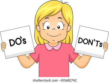 Kid Girl Classroom Rules Flash Cards