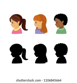 kid girl faces in profile and silhouettes,isolated characters,flat vector illustration