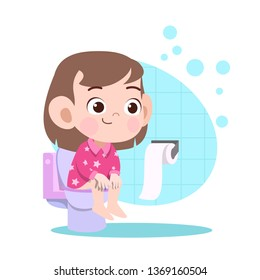 kid girl pooping in toilet vector illustration