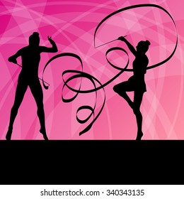 Kid girl with ribbon rhythmic gymnastics vector background concept