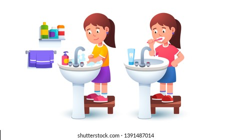 Kid girl washing hands and brushing teeth holding toothbrush at washbowl sink standing on step stool by herself. Child morning bathroom routine. Flat vector character illustration