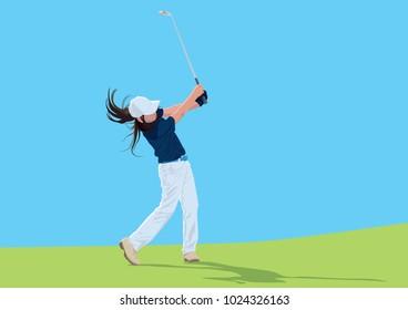 Kid Golfer on Green