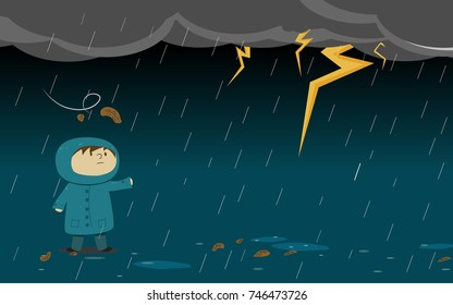 Kid or guy wear raincoat standing in the middle of  thunder strom,Vector design illustration.