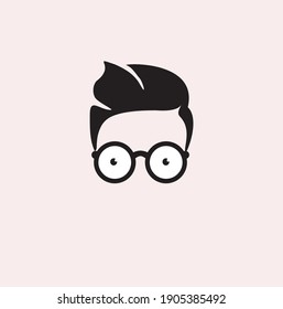 kid hair and glasses for Geek Logo, Vector Logo template