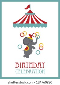 kid happy birthday card design. circus animal. vector illustration