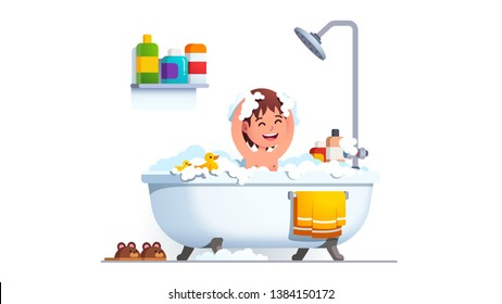 Kid having bath washing head and body all covered in suds. Boy washes himself in big bathtub with lot of shampoo foam & toy duck. Adorable smiling child in bathroom. Flat vector character illustration