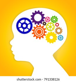 Kid head with colorful brain flat gears. Vector illustration of a young kid gears brain smart concept on yellow gradient background.