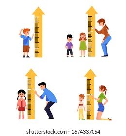 Kid height measure chart set - little cartoon children standing by ruler for growth measurement by parent. Isolated flat vector illustration on white background.