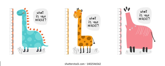 Kid height measurement, centimeter, chart with elephant, dinosaur, giraffe for wall, room interior. African animals for children
