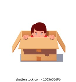 Kid hiding in a cardboard box. Boy 3is afraid of being find playing hide and seek. Flat style isolated vector illustration