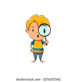 Kid holding magnifying glass